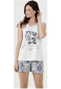 Pijama Feminino Estampa Paisley Sem Manga Marisa