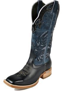 Bota Texana Bico Quadrado Cano Longo Azul