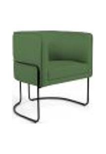 Poltrona Decorativa Fixa Base De Aço Preto Betina D02 Linho Verde B-232 - Lyam Decor