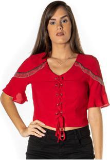 Blusa Cropped Com Franjas - Vermelha & Prateadadwz