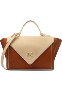 Bolsa Macadamia Bicolor Tiracolo Com Alça Transversal - Feminino-Caramelo