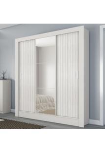 Guarda-Roupa Casal Torino 3 Portas 3 Gavetas Com Espelho Flex Branco Brilho/3D Branco Brilho - Atualle Móveis