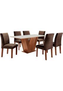 Conjunto De Mesa De Jantar Com 6 Cadeiras Classic Lv Suede Off White E Marrom