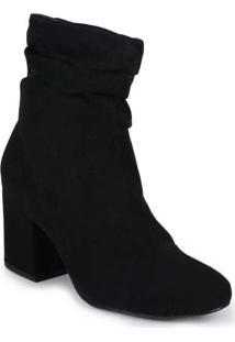 Ankle Boots Feminina Lara Suede Básica Preto