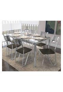 Jogo De Mesa Com 6 Cadeiras Kappesberg Crome Cmc042Cr-21 Cromado/Marrom