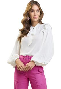 Blusa Mx Fashion De Chiffon Com Mangas Plissadas Pietra Off White