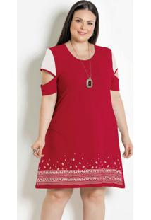 Vestido Mangas Vazadas Plus Size Vermelho/Branco