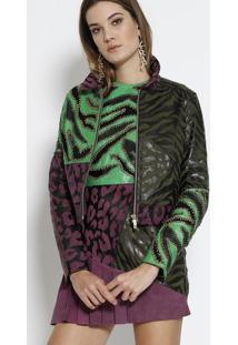 Jaqueta Em Pele De Cordeiro Com Recortes - Preta & Verdeversace
