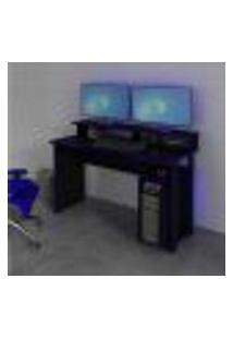Mesa Escrivaninha Gamer Com 4 Nichos Tecno Mobili - Preto/Azul
