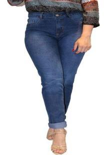 Calça Jeans Sob Skinny Plus Size Cintura Alta Feminina - Feminino-Azul
