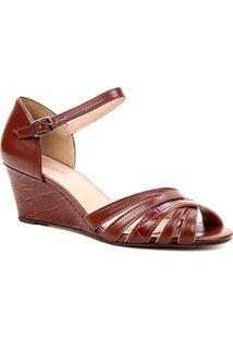Sandália Anabela Couro Shoestock Tiras Cruzadas Feminina - Feminino-Tabaco