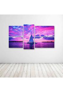 Quadro Decorativo - Pink Boats Clouds Ocean Sailing Sea - Composto De 5 Quadros - Multicolorido - Dafiti
