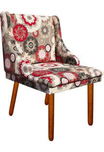Cadeira Poltrona Decorativa Liz Estampado Floral D32 Pés Castanho - D'Rossi