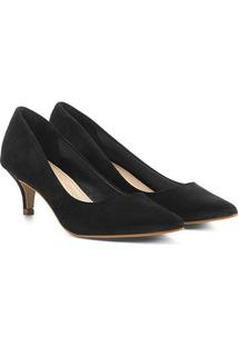 Scarpin Couro Shoestock Salto Médio Nobuck - Feminino-Preto