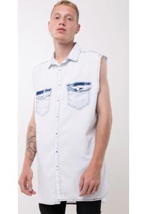 Camisa Jeans Sem Manga