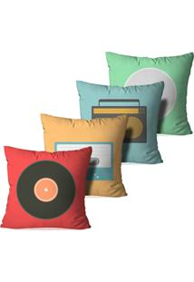 Kit 4 Almofadas Decorativas Music Retro
