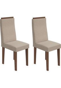 Conjunto Com 2 Cadeiras Dafne Ll Imbuia E Bege