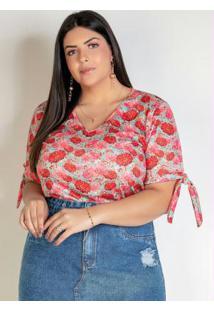 Blusa Floral Rosa Com Amarração Plus Size