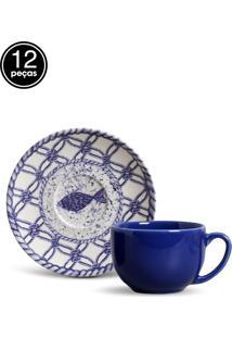 Conjunto 12Pçs Xícaras De Chá Porto Brasil Coup Fish Azul/Branco