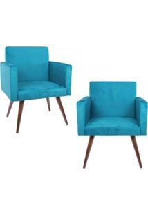 Kit 02 Poltronas Decorativa Pés Palito Nina Suede Azul - Ds Móveis - Kanui