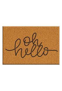 Capacho De Vinil Oh Hello Amarelo Único Love Decor