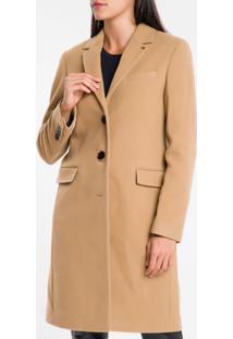 Casaco Longo Em Lã E Cashmere - Caqui Medio - 36