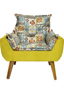 Poltrona Decorativa Kasa Sofá Opala Azulejo Amarelo