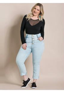 Body Preto Com Tule Quintess Plus Size