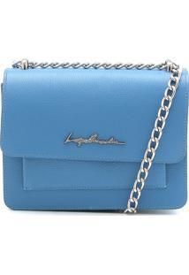 Bolsa Couro Luiza Barcelos Monograma Azul