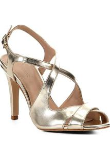 Sandália Shoestock Salto Médio Tiras Metalizada Feminina - Feminino-Dourado