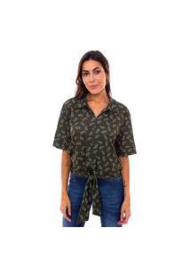 Blusa Feminina Com Amarração Estampada Verde