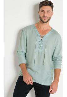 Camisa Com Detalhe De Amarração Verde