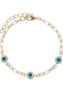 Pulseira Olho Grego Banhada A Ouro- Dourada & Azul- Carolina Alcaide