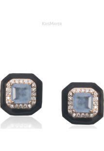Brinco Esmaltado Quadrado Com Zirconias E Pedra Cor Agata Azul Folheado A Ouro 18K