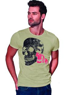 Camiseta Estonada Corte À Fio Joss Flores Da Lua - Areia