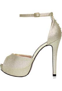 Sandália Meia Pata Week Shoes Glitter Dourado
