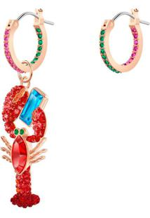 Brincos Ocean Lobster, Multicolor, Banho De Ouro Rosa
