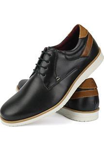 Sapato Casual Couro Sapatofran Brogue Plain Toe Masculino - Masculino-Preto