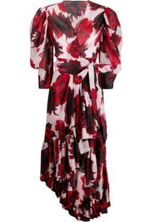 Alexandre Vauthier Vestido Assimétrico Com Estampa Floral - Vermelho