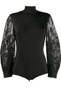 Givenchy Lace Sleeve Bodysuit - Preto