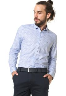 Camisa Aramis Slim Geometrica Azul