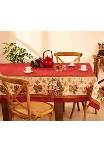 Toalha De Mesa Lepper Natal Noite Feliz Retangular 8 Lugares Vermelho