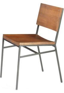 Cadeira Brooklyn Cor Rustic Brown Com Base Aco Grafite - 49617 Sun House