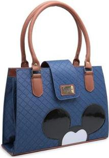 Bolsa Gouveia Costa Mickey Mouse Compacta Alça Dupla Mão Feminina - Feminino-Azul Escuro