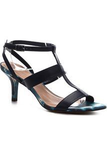 Sandália Couro Shoestock Salto Médio Tie Dye Feminina