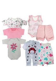 Kit Maternidade Enxoval 7 Peças Roupa De Bebê Verão Barato Rosa
