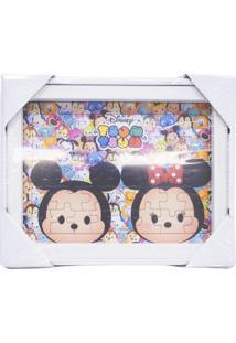 Porta Retrato Minas De Presentes Quebra Cabeça Mickey & Minnie Tsum Tsum 15X19Cm - Disney Branco