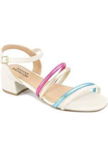 Sandália Salto Bloco Tiras Metalizadas Sapato Show Feminina - Feminino-Off White