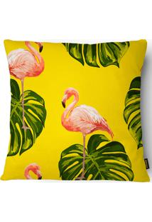 Capa Para Almofada Garden Folhas E Flamingos 020 43X43Cm - Belchior - Amarelo / Rosa