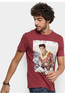 Camiseta Reserva Estampa Ja Elvis Masculina - Masculino-Bordô